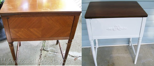 vintage sewing cabinet side table & sewing cabinet projects - My Repurposed Life®