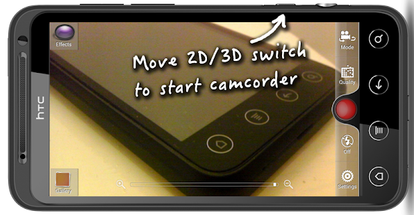 HTC EVO 3D Camcorder Button - screenshot thumbnail