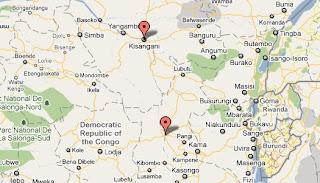 Villes de Kisangani et Kindu, marquées en rouge sur la carte.
