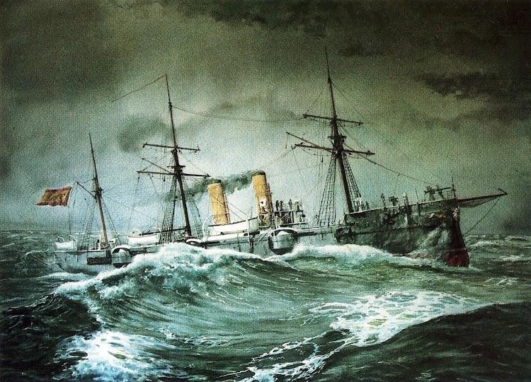 El ALFONSO XII navegando con mar gruesa. Acuarela de Guillermo G. de Aledo. Del libro NUESTRA MARINA.jpg