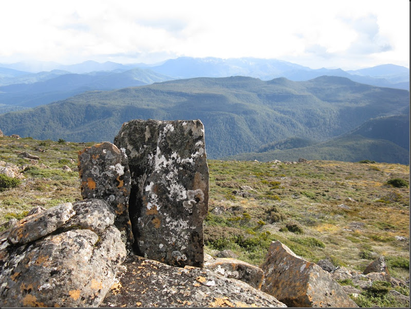 View to Loddon Range with rock in foreground