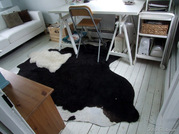 Cowhide and sheepskin rugs in the office | Little Victorian