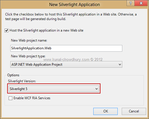 Silverlight 5 comes with Visual Studio 2012