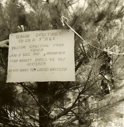 Sign on the Christmas Tree 1951 Korea