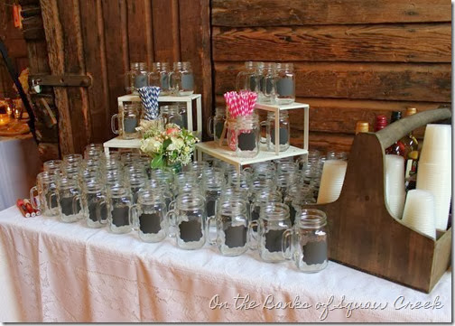 mason glass chalkboard wedding
