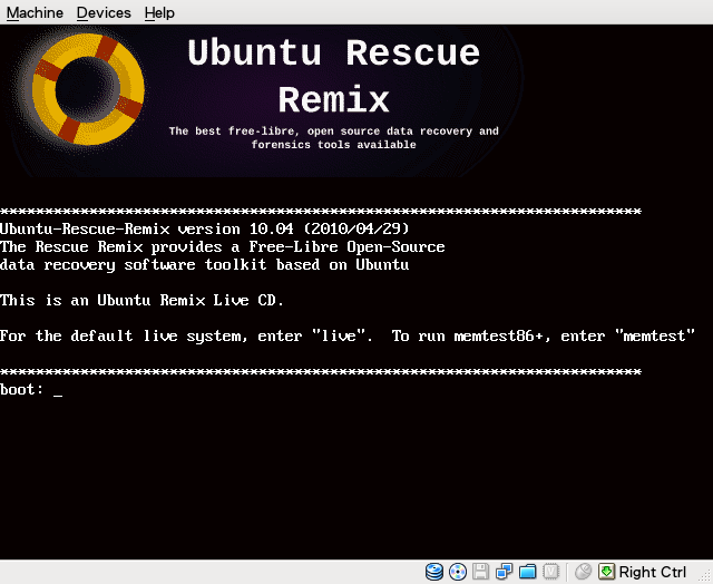 Ubuntu Rescue Remix is a GNU/Linux live system which runs from CD or