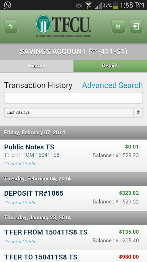 TFCU Mobile 1.1- screenshot
