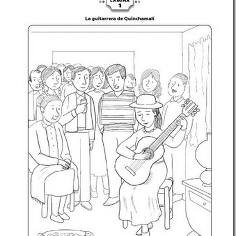 Imágenes para colorear huaso Chileno y guitarrera