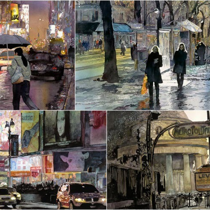 John Salminen's Watercolor Paintings of Urban Landscapes