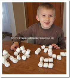 building with marshmallows