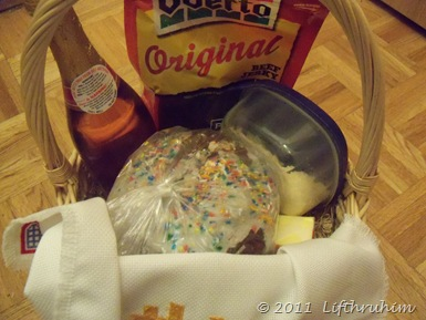 Our simple Pascha Basket containing bread, butter, jerky.