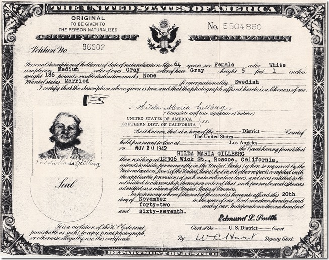 Hilda Maria Carlsson Gillberg Certificate of Naturalization Cropped