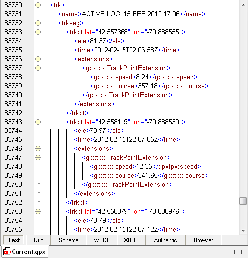 View of an XML file in XMLSpy