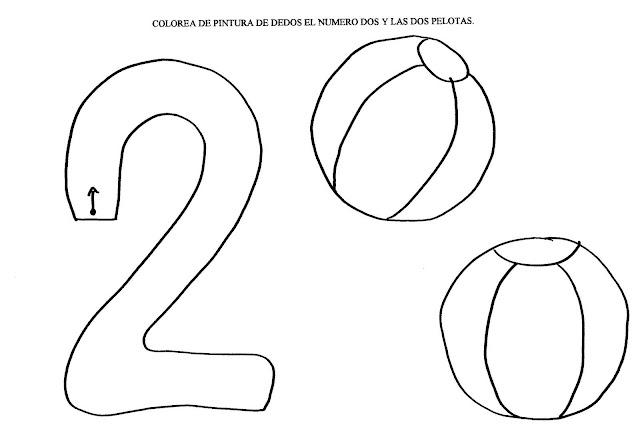 El Numero 2 En Fichas Para Pintar Y Aprender