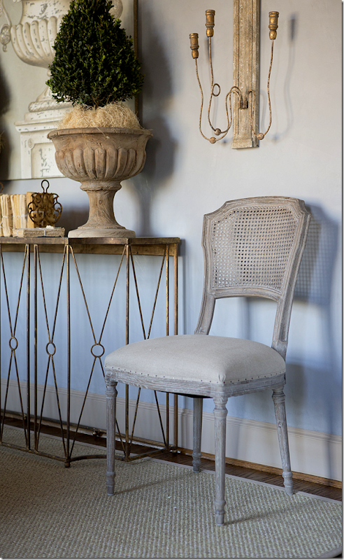 Aidan Gray Chelsea dining chair in French Country room with console table. #aidangray #frenchcountry #chair