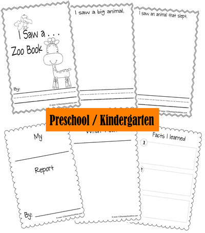 Preschool and Kindergarten Zoo Fieldtrip Animal Report Books