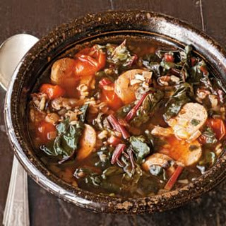 Wild Rice and Red Chard Soup with Andouille