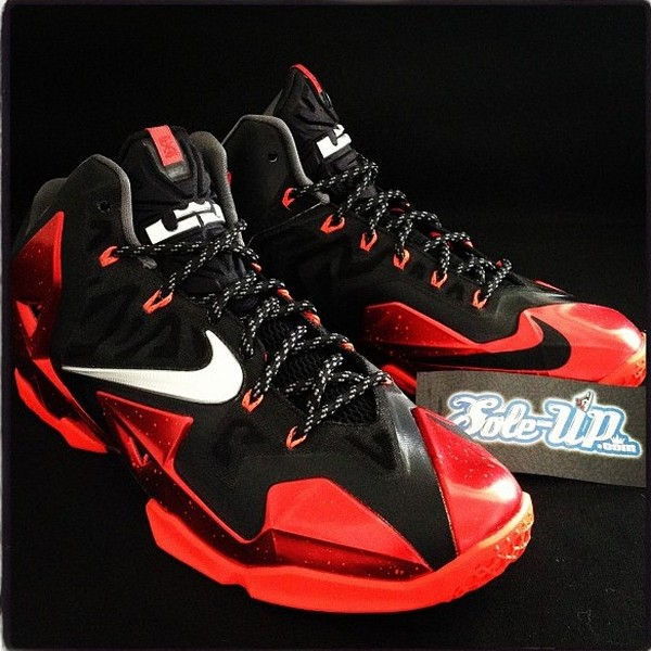 71a27b461c0eb Nike LeBron 11 Black Red 8211 8220Miami Heat8221 Away Edition ...