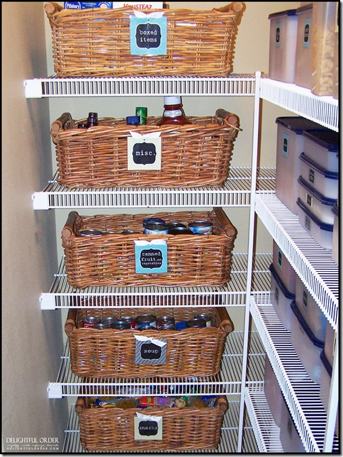 Organized Canned Food Inside A Basket | Creative Canned Food Storage Ideas