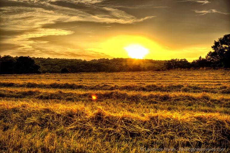 Sunset over cut grass France