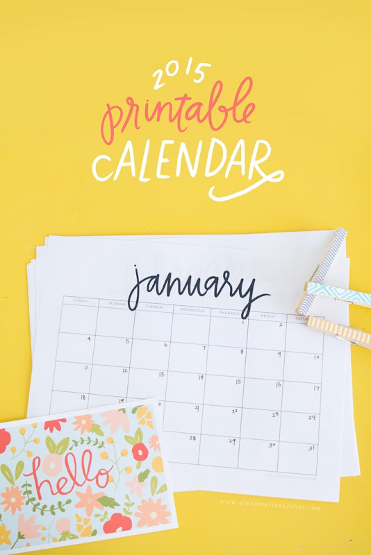 2015 Printable Calendar from www.alexamariezurcher.com