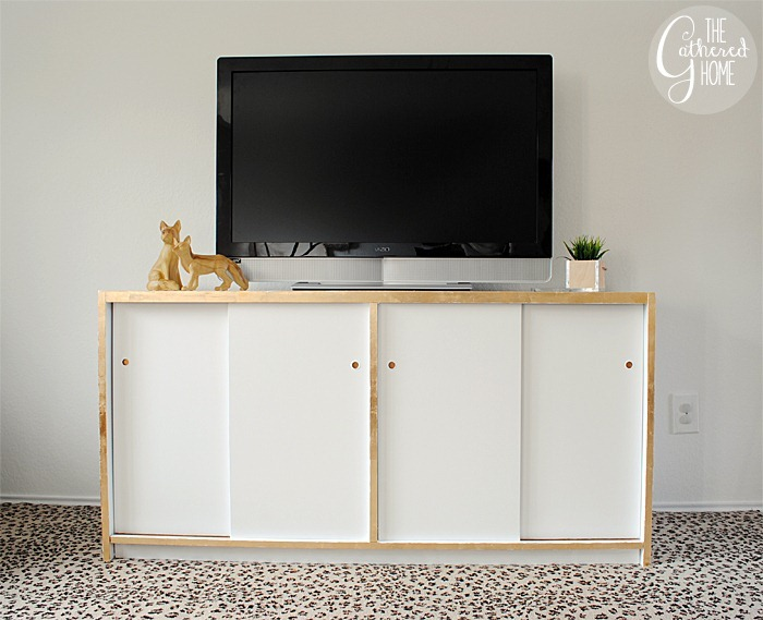 DIY White and Gold Leaf Credenza