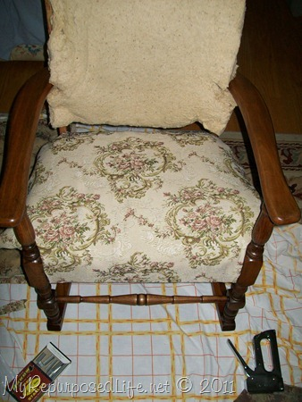 recovering antique rocker & antique rocker makeover - My Repurposed Life®