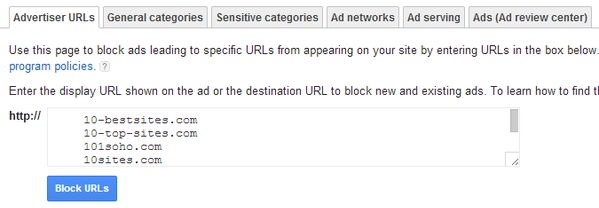 blocked urls adsense