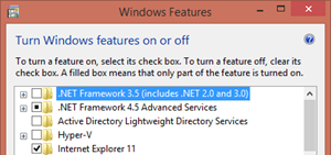 Install .NET Framework 3.5 from Windows features page
