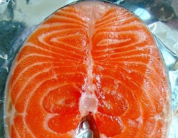 Red and white in salmon fish