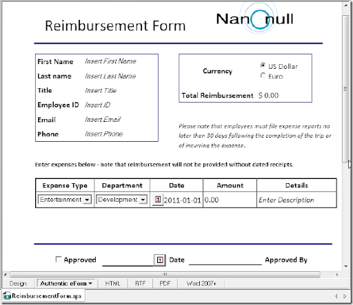 Once We Are Finished Designing The Reimbursement Form We Can Save The  Entire Design U2013 Including The XML Schema And Instance Files, Images, And  Any Other ...