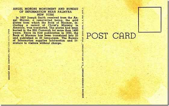 Hill Cumorah and Angel Moroni Monument Postcard pg. 2