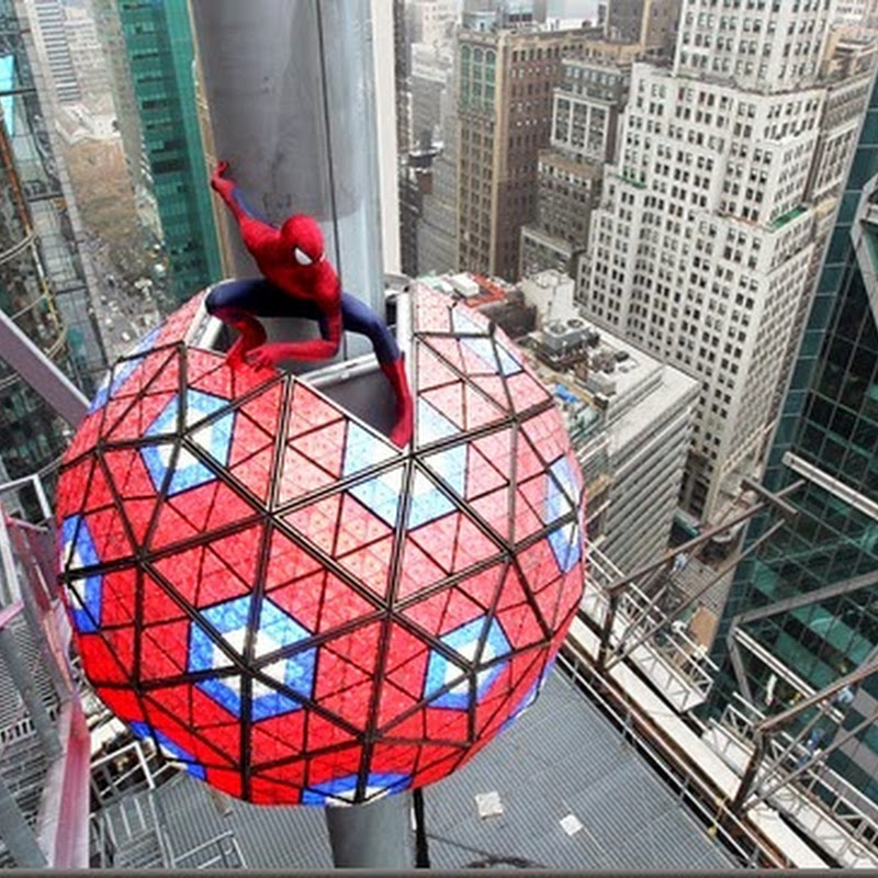 Amazing Spider-Man Swings Into NY Times Square for New Year's Eve Countdown