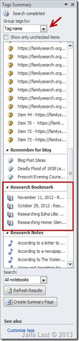 OneNote for Genealogy Research 3 Tags