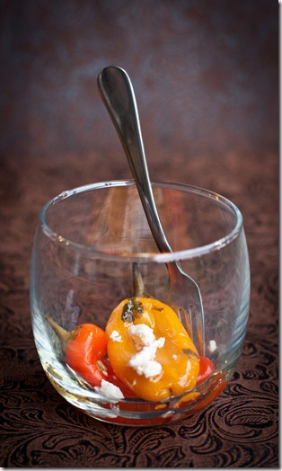 Feta Cheese Pickled Mini Bell Peppers | Gently roasted peppers marinated in a mixture of vinegar, garlic, onion and parsley. | Let the Baking Begin!