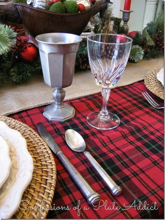 CONFESSIONS OF A PLATE ADDICT Pewter and Plaid Christmas Tablescape