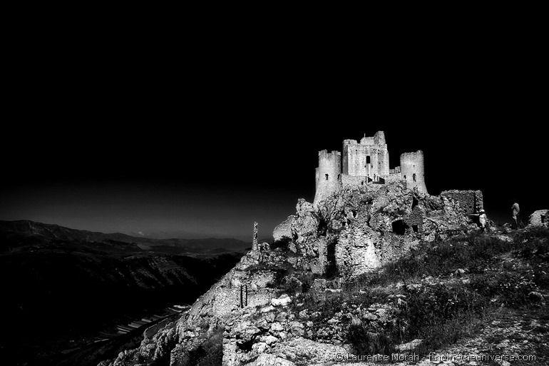 Castle abruzzo italy black and white