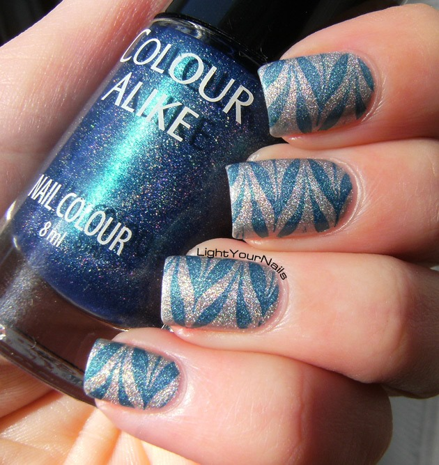 Silver and blue holo stamping with BornPretty BP-41 plate