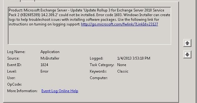 Exchange Server 2010 Rollup - Could not be installed  Error