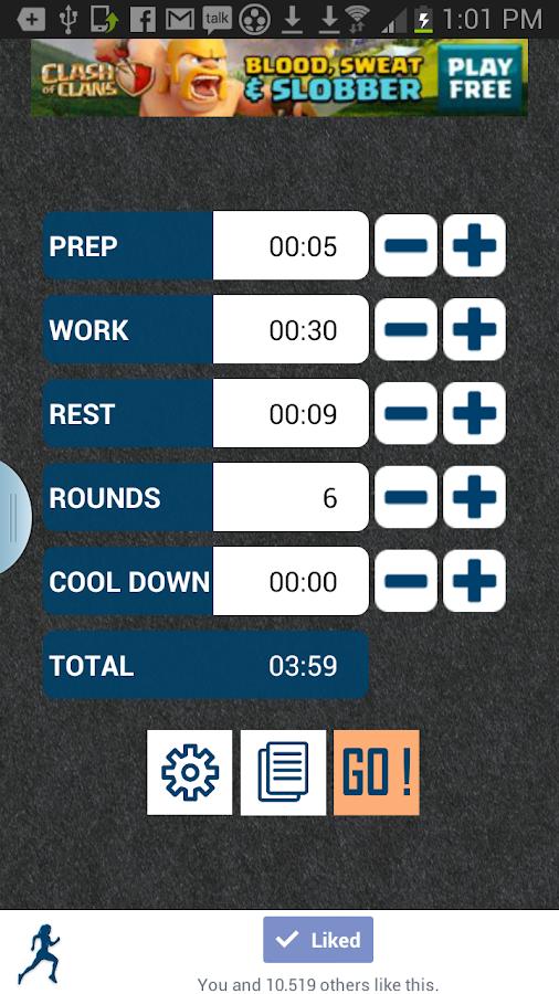 HIIT interval training timer - screenshot