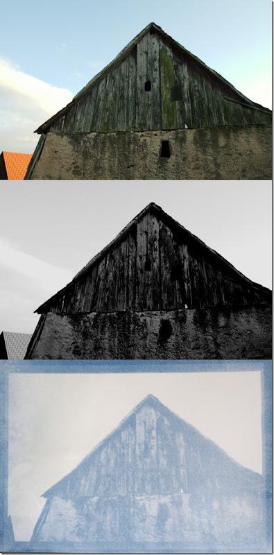 Alte Scheune in Franken- Drei Bilder Farbe - Schwarzweiß - Cyanotypie (Blaudruck)