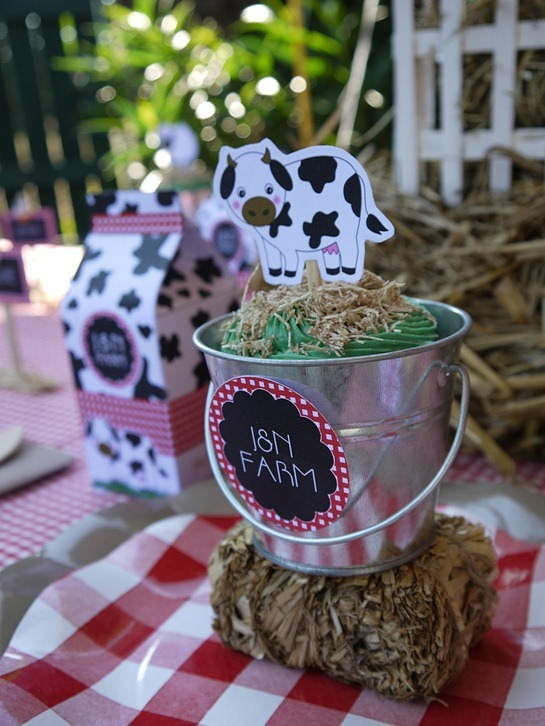 Barnyard Birthday - Cupcakes in Pails3
