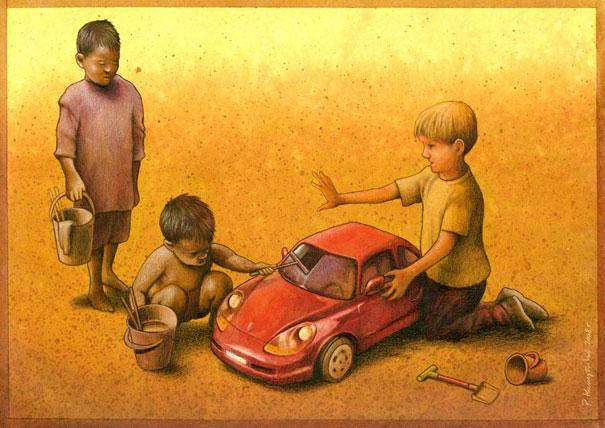 諷刺社會的插畫作品