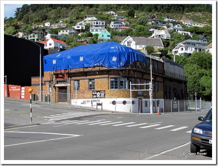 Damaged buildings around Lyttleton after the 2010 earthquakes.