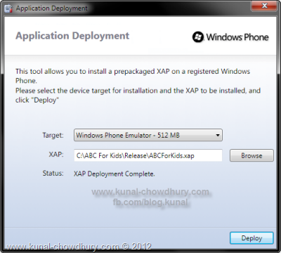 Windows Phone Application Deployment - Deploy the XAP to the Device