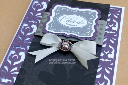 Damask & Ribbon Card using Casual Expressions & For Always papers.  Created by Lalia Harris
