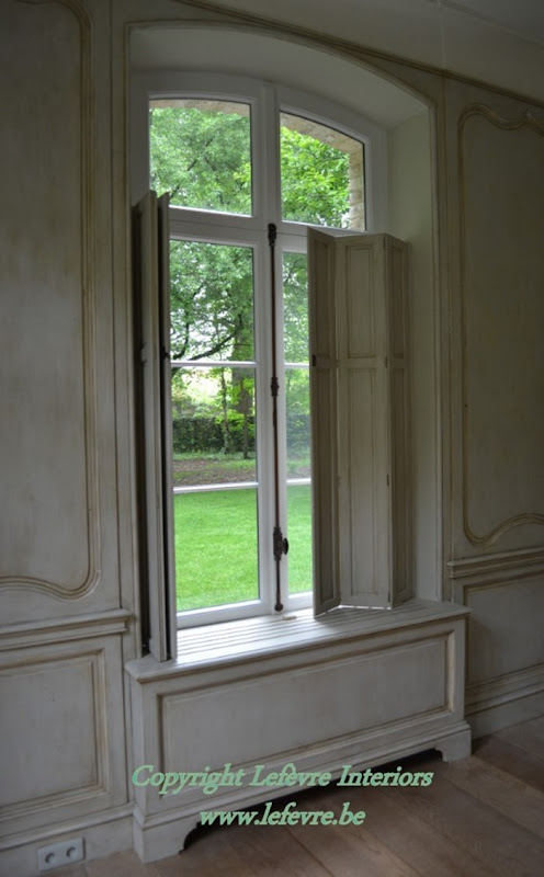 Belgian pearls paneled room - Unfinished interior wood shutters ...