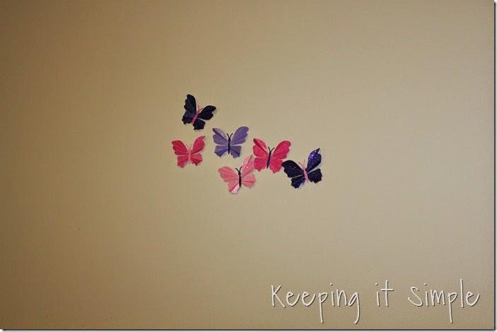 Little girl's room idea glitter paper butterflies (3)