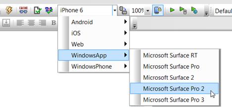 MobileTogether Simulator choices for Windows 8