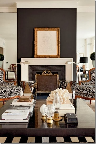 fireplace black accent wall via paloma81.blogspot.com